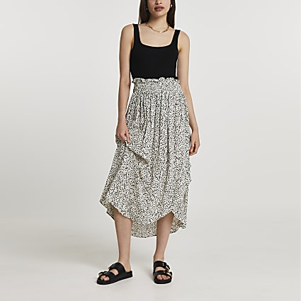 Cream shirred waist wrap midi skirt