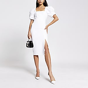 Cream short puff sleeve fitted midi dress