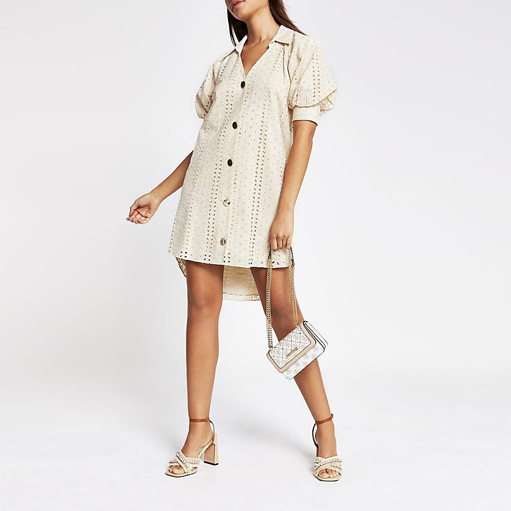 Cream short sleeve broderie shirt mini dress