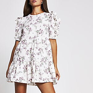 Cream short sleeve cotton floral mini dress