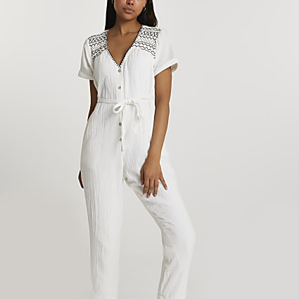 Cream short sleeve embroidered  jumpsuit