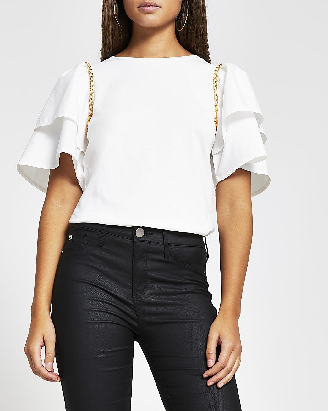 Cream short sleeve frill chain detail t-shirt