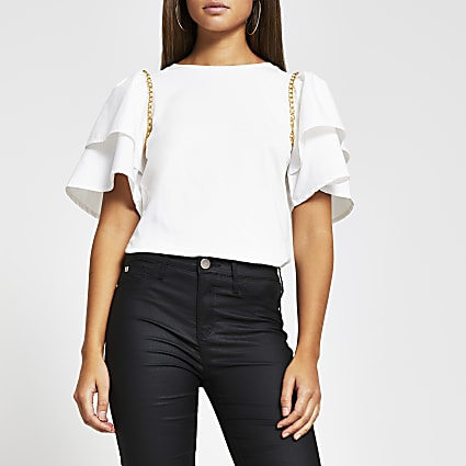 Cream short sleeve frill chain detail t-shirt
