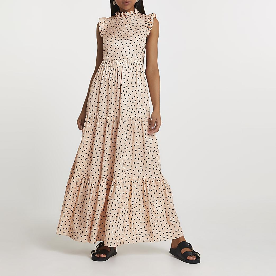 Cream short sleeve frill detail maxi dress