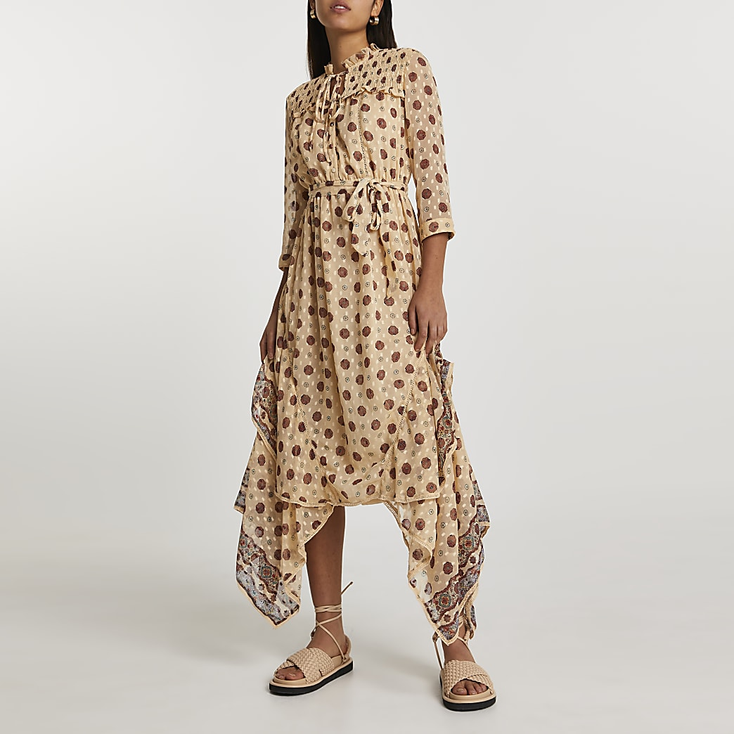 Cream short sleeve frill midi dress