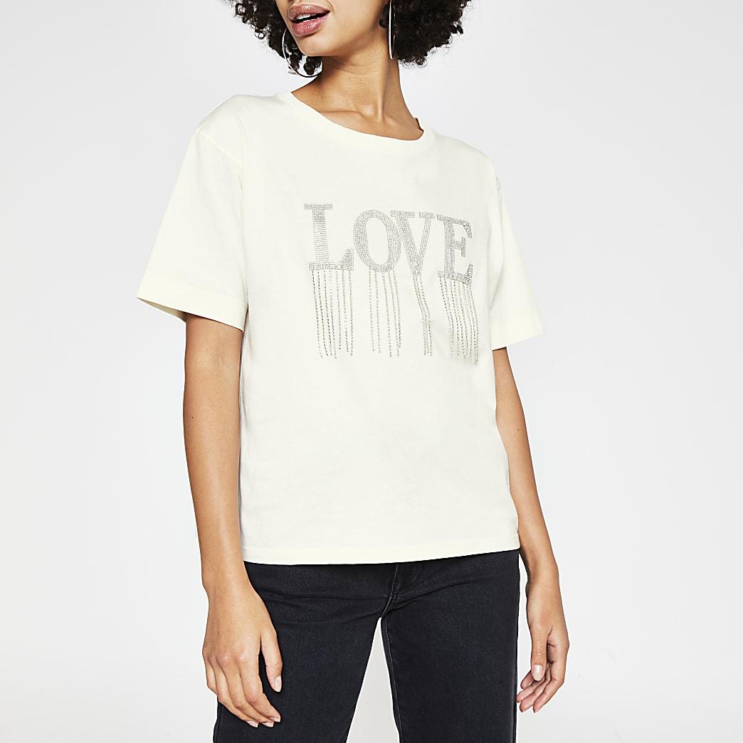 Cream short sleeve 'Love' fringe boxy tee