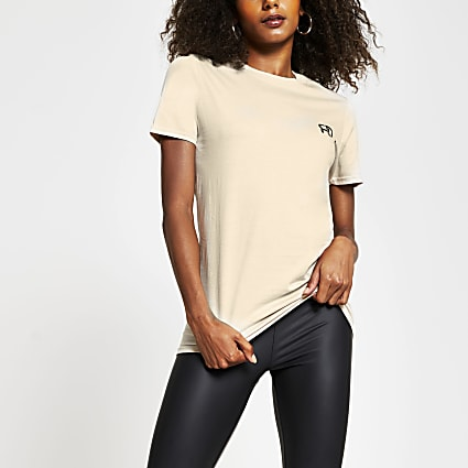 Cream short sleeve RR boyfriend t-shirt