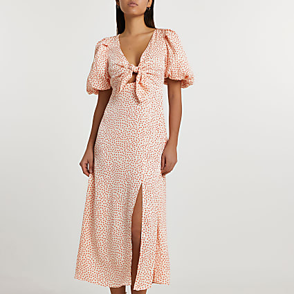 Cream short sleeve spot tie front midi dress