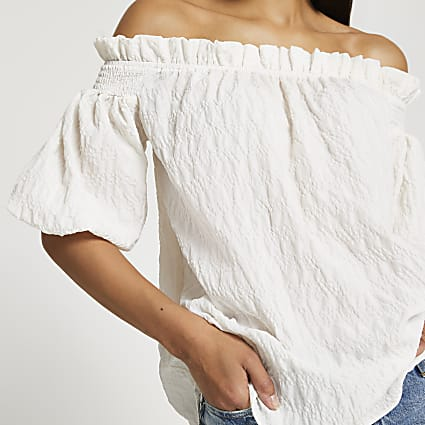 Cream short sleeve textured bardot top
