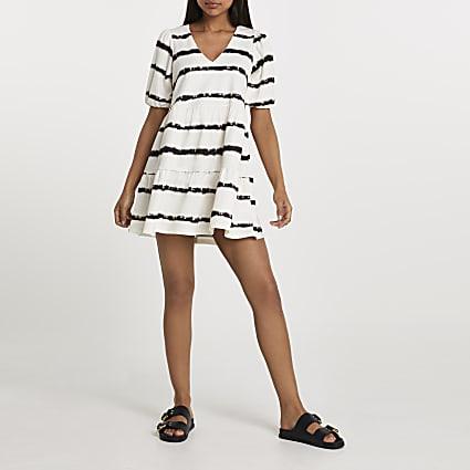 Cream short sleeve tie dye smock dress