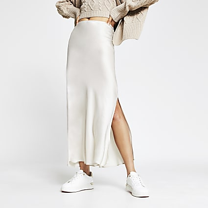 Cream side split satin skirt