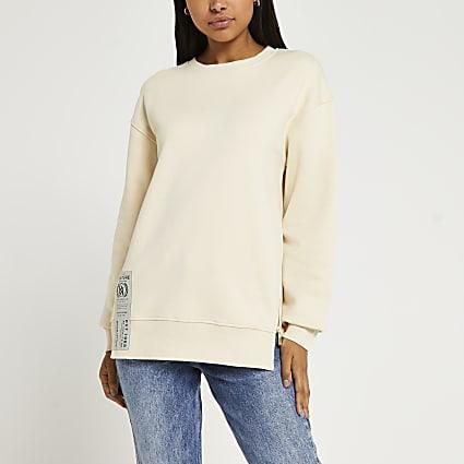 Cream side zip detail sweatshirt