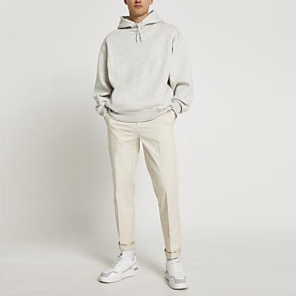 Cream skinny fit chino trousers