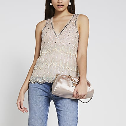 Cream sleeveless embellished vest top