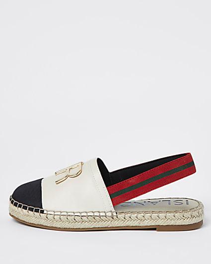 Cream sling back espadrille sandals