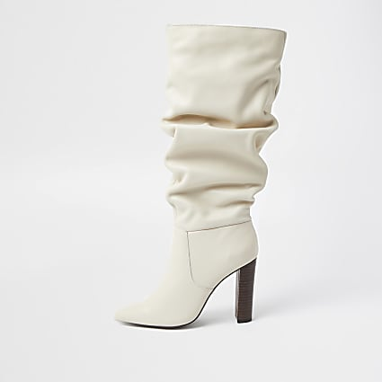 Cream slouch high leg boots