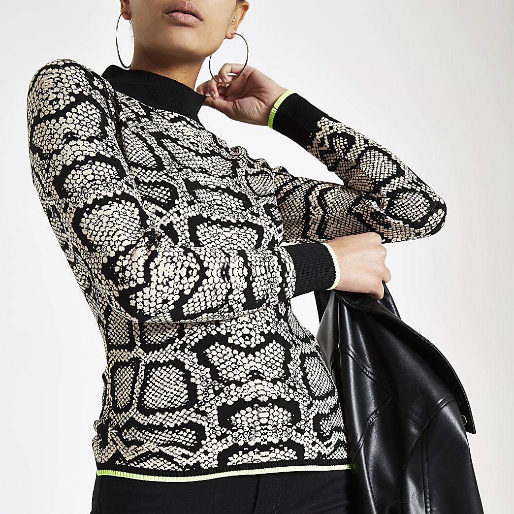 Cream snake print knit turtle neck top