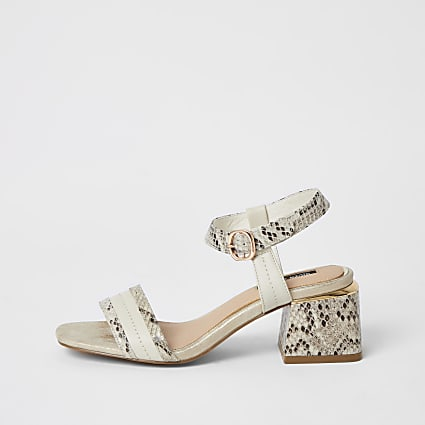 Cream snake printed block heel sandals