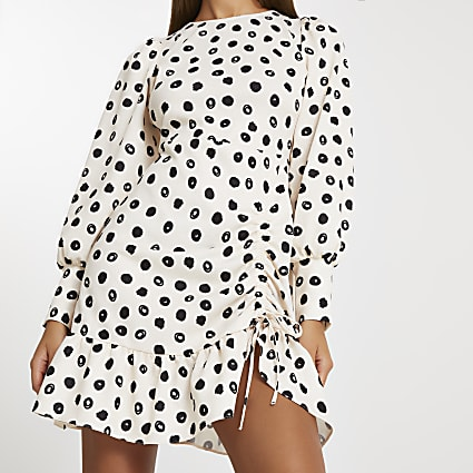 Cream spot print frill hem mini dress