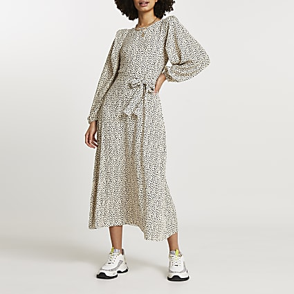 Cream spot print plisse tie waist midi dress