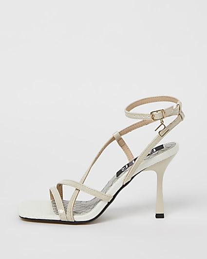 Cream strappy heeled sandals