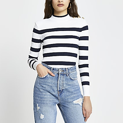 Cream stripe button detail crop top