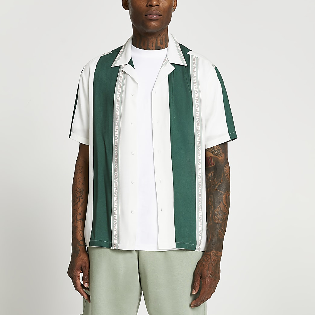 Cream stripe geometric short sleeve shirt