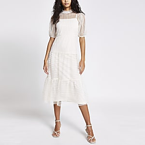 Cream stripe mesh short sleeve midi dress