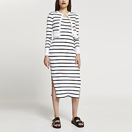 Cream stripe midi dress & cardigan set