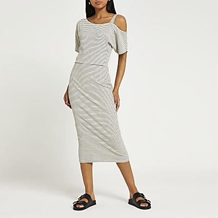 Cream stripe one shoulder midi dress