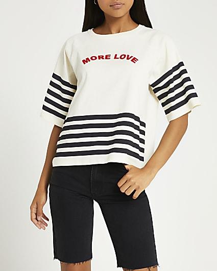 Cream stripe print graphic t-shirt
