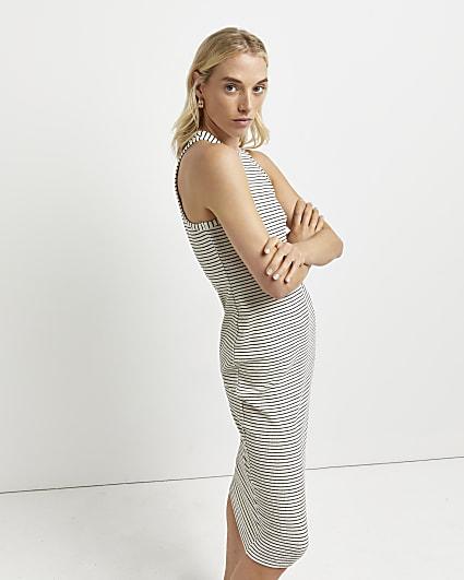 Cream stripe ribbed bodycon midi dress