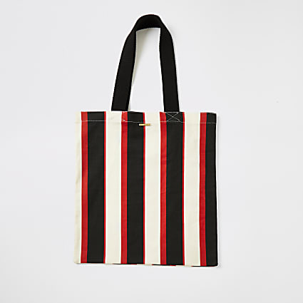 Cream stripe tote bag