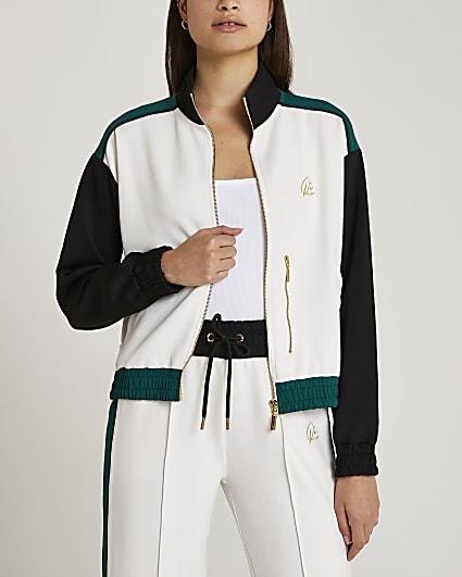 Cream stripe zip up jacket