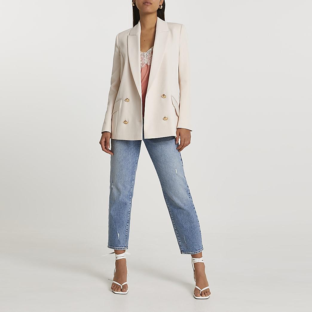 Cream structured double breasted blazer