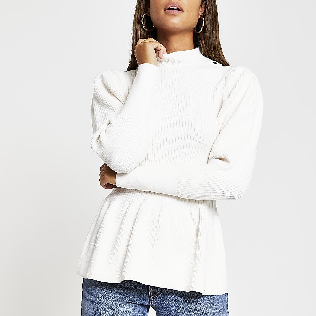 Cream structured peplum jumper
