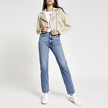 Cream suedette cropped biker jacket