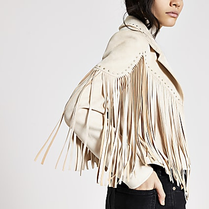 Cream suedette fringe studded jacket