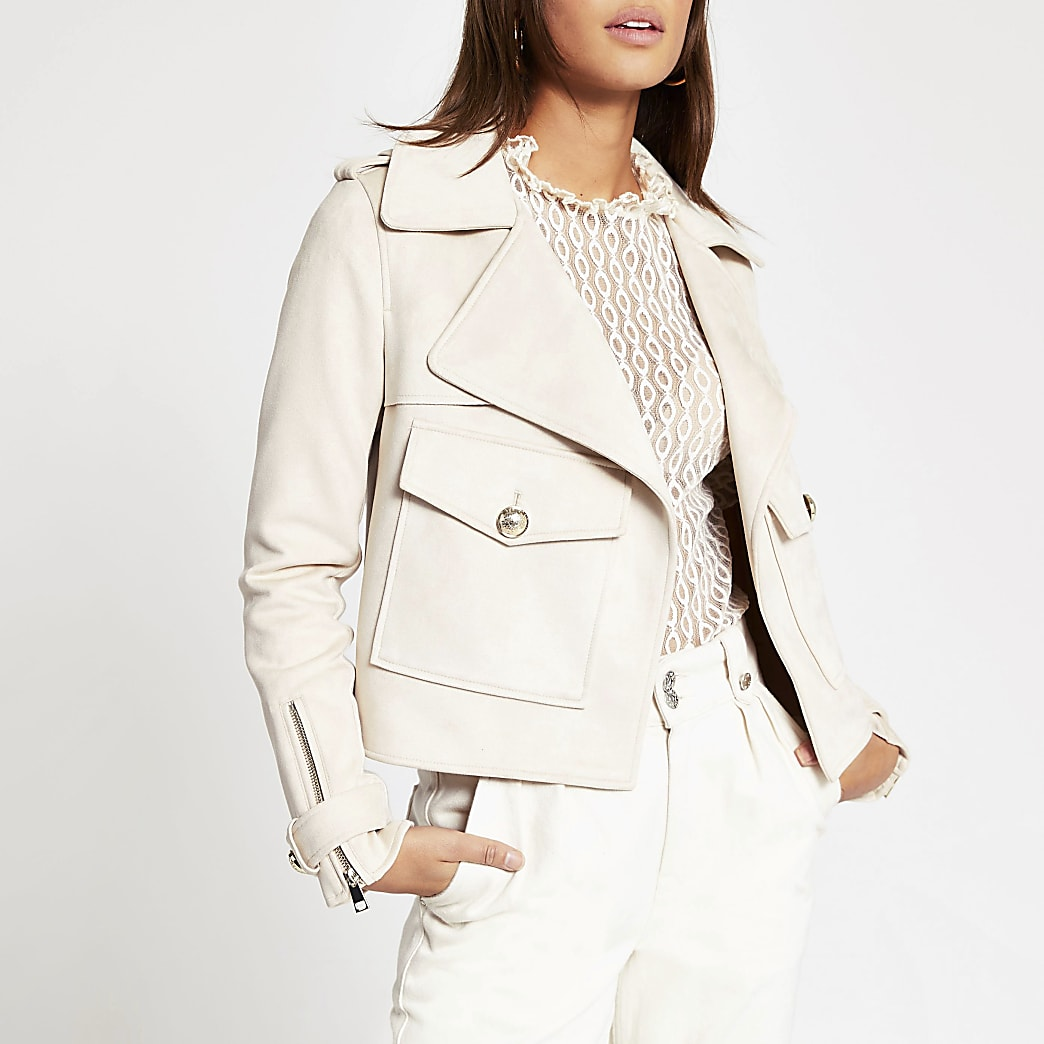 Cream suedette pocket front cropped jacket