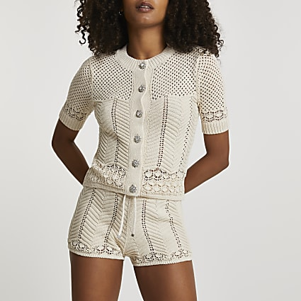 Cream summer stitch cardigan
