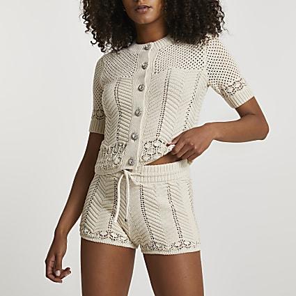 Cream summer stitch shorts