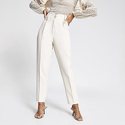 Cream tab waist peg trousers