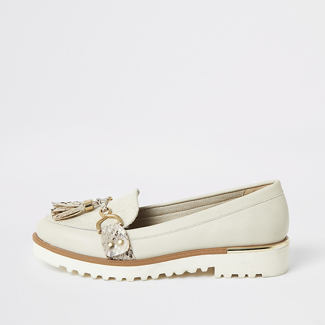 Cream tassel front chunky loafers