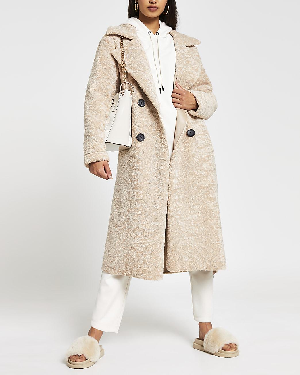Cream Teddy shearling longline coat