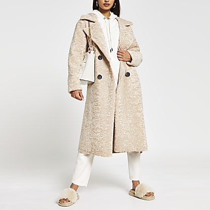 Cream Teddy shearling longline coat