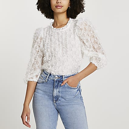 Cream textured blouse top
