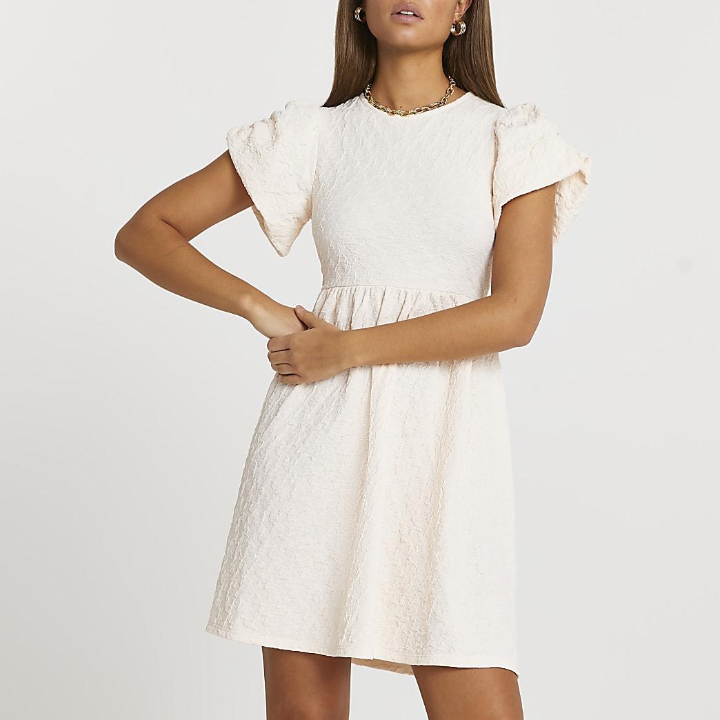 Cream textured puff sleeve mini dress