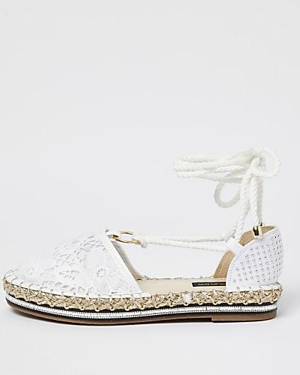 Cream tie ankle sandals