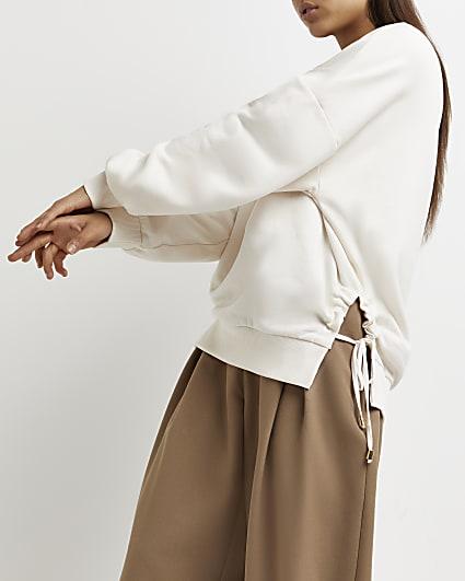 Cream tie detail sweatshirt