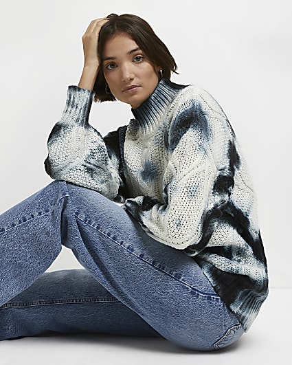 Cream tie dye print cable knit jumper
